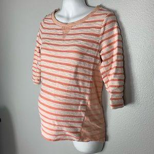 GAP Maternity Peach Stripe Textured 3/4 Sweater